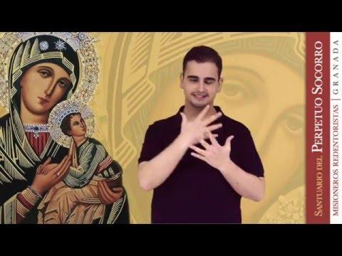 """Javier Arenal Pardo interpreta el tema """"Madre"""", dedicado a Ntra. Sra. del Perpetuo Socorro, en Lengua de Signos Española. Está cantado por el Coro de la Pastoral Juvenil Vocacional Redentorista (PJVR)"""